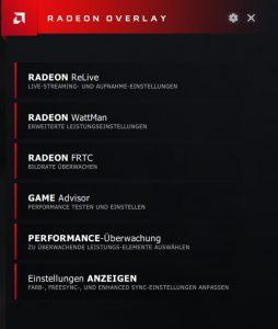 AMD Adrenalin Radeon Overlay Einstellungen