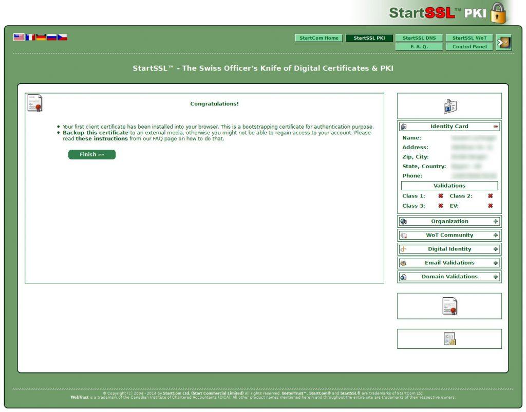 StartCom Persönliches Zertifikat erstellen