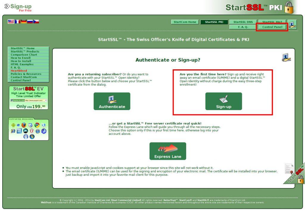 StartCom Registrierung