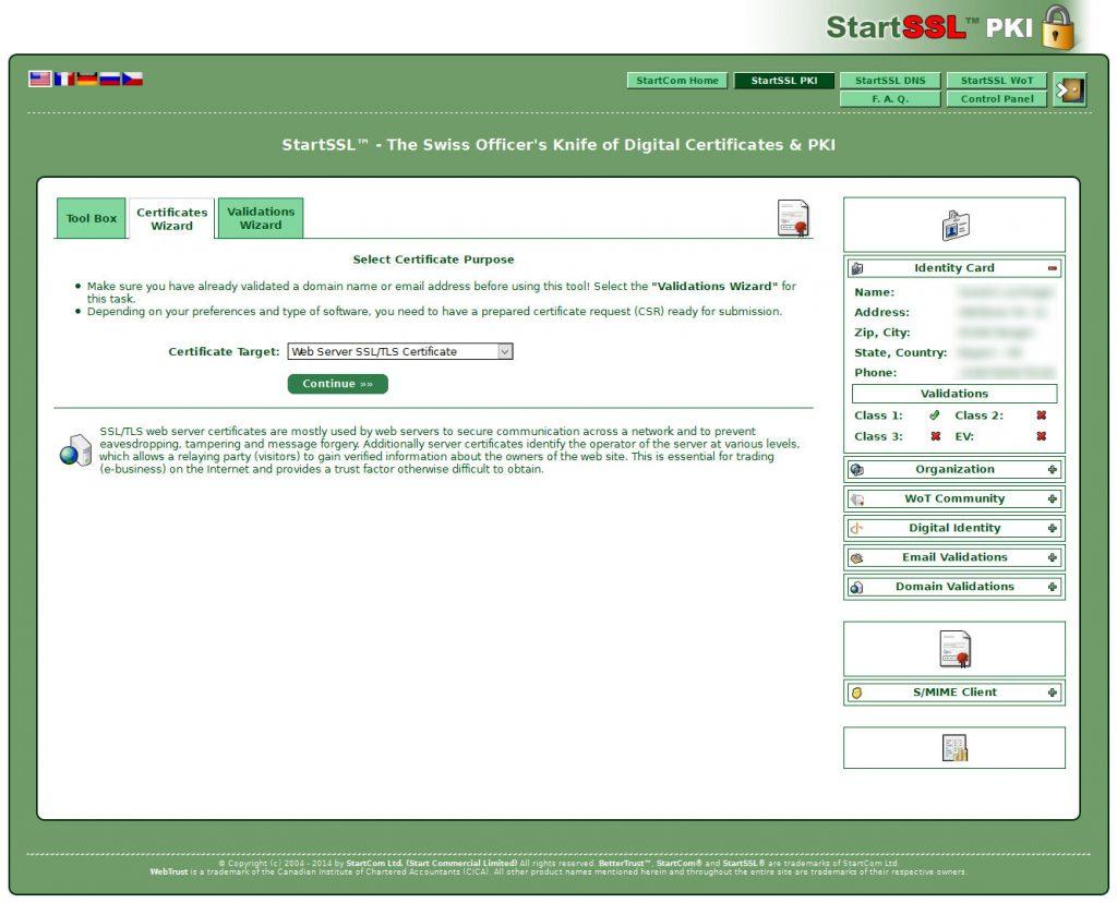 SSL Zertifikaterstellung