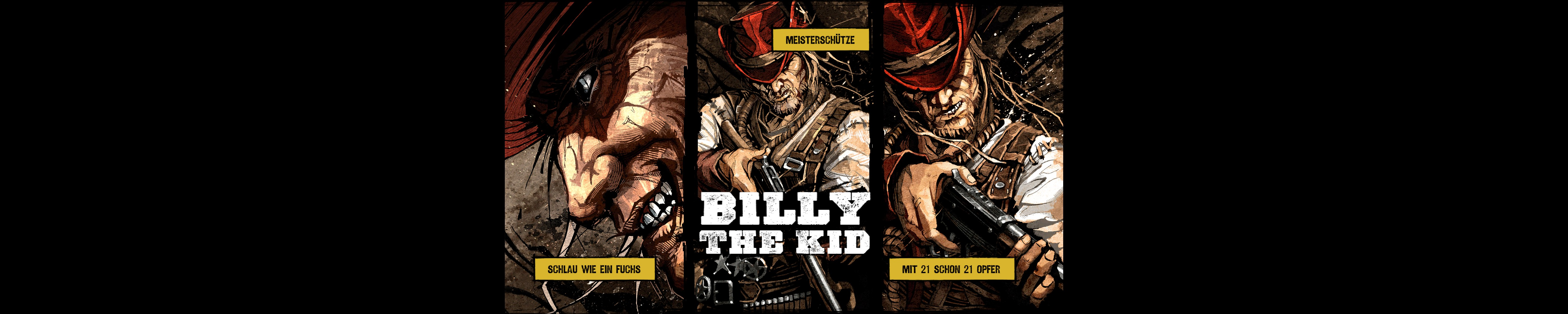 Charaktere werden in stilvollen Comic-Strips eingeführt